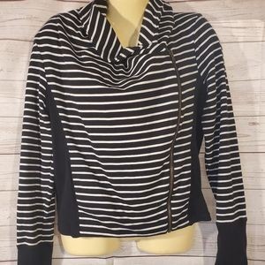 Caslon Striped Full Zip Sweater